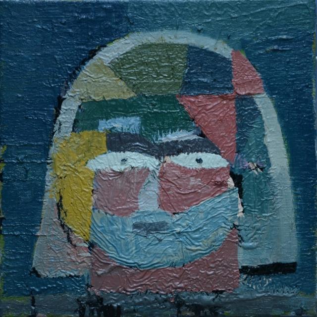 zelfportret met blokken