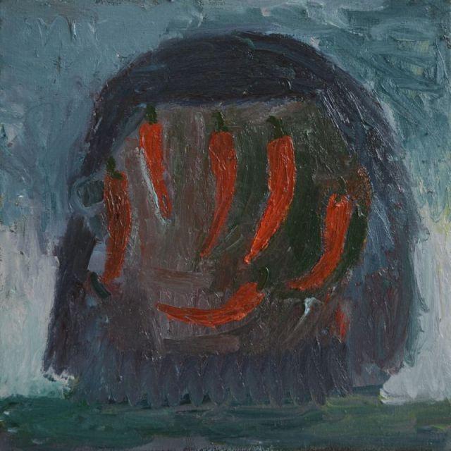 Zelfportret met rode pepers 50x50cm
