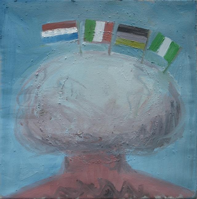 Zelfportret met wolk en vlaggen